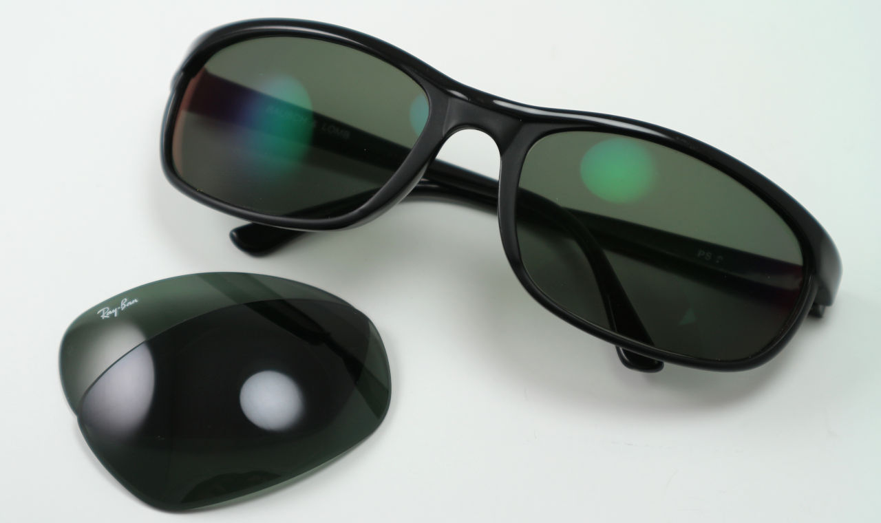 Gebogen Ray-Ban zonnebril met G15-groene glazen op sterkte